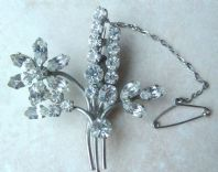 Vintage Layered Floral Brooch With Safety Chain.